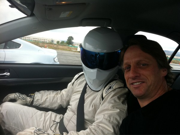 Tony Hawk with The Stig while guest starring on TopGear America